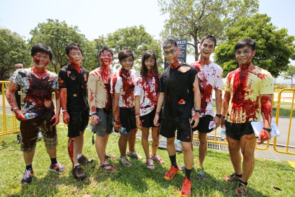 Group of zombies ready to grab some survivor flags at Run For Your Lives