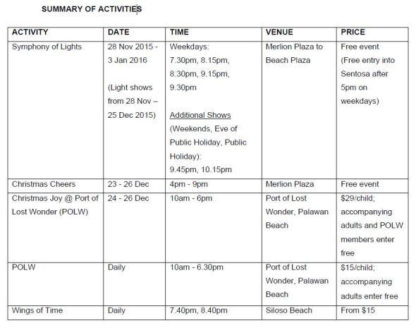 Sentosa Schedule